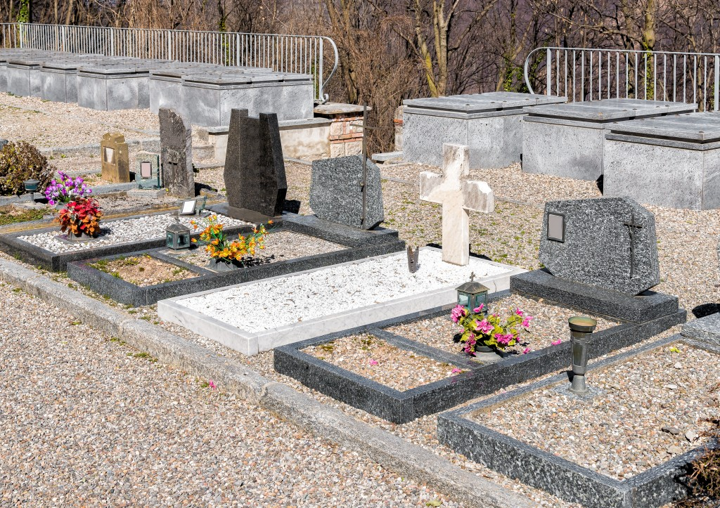 The Headstones and Graves of Cemetery.