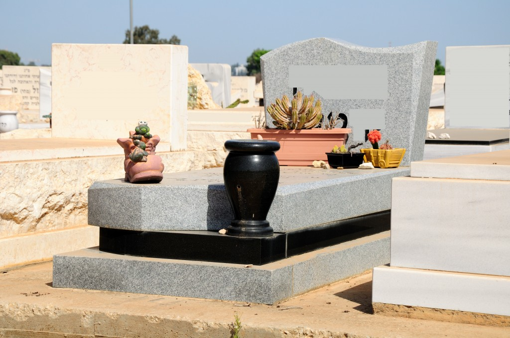 Marble gravestone at jewish cemetery in the central Israel